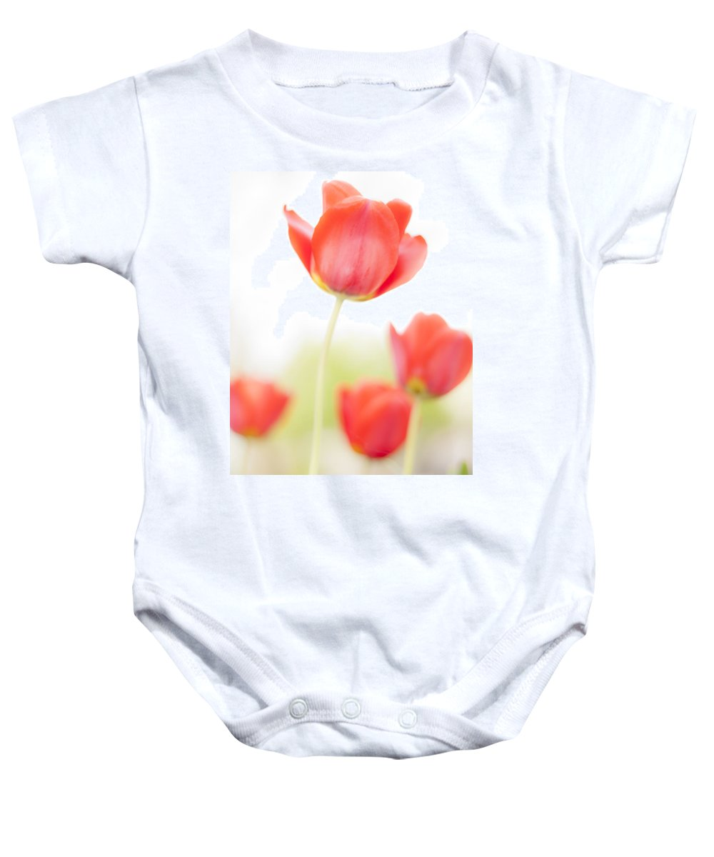 3scape Baby Onesie featuring the photograph High Key Tulips by Adam Romanowicz