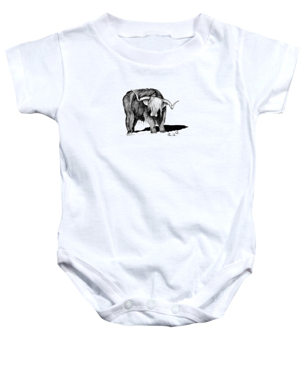Highland Cattle Baby Onesie featuring the drawing Highland Bull by Petra Stephens