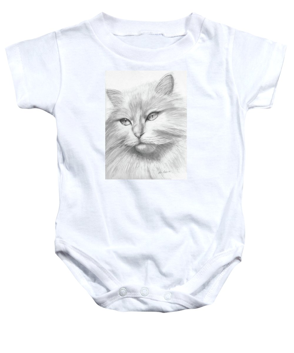 Pencil Baby Onesie featuring the drawing Himalayan Cat by Lena Auxier