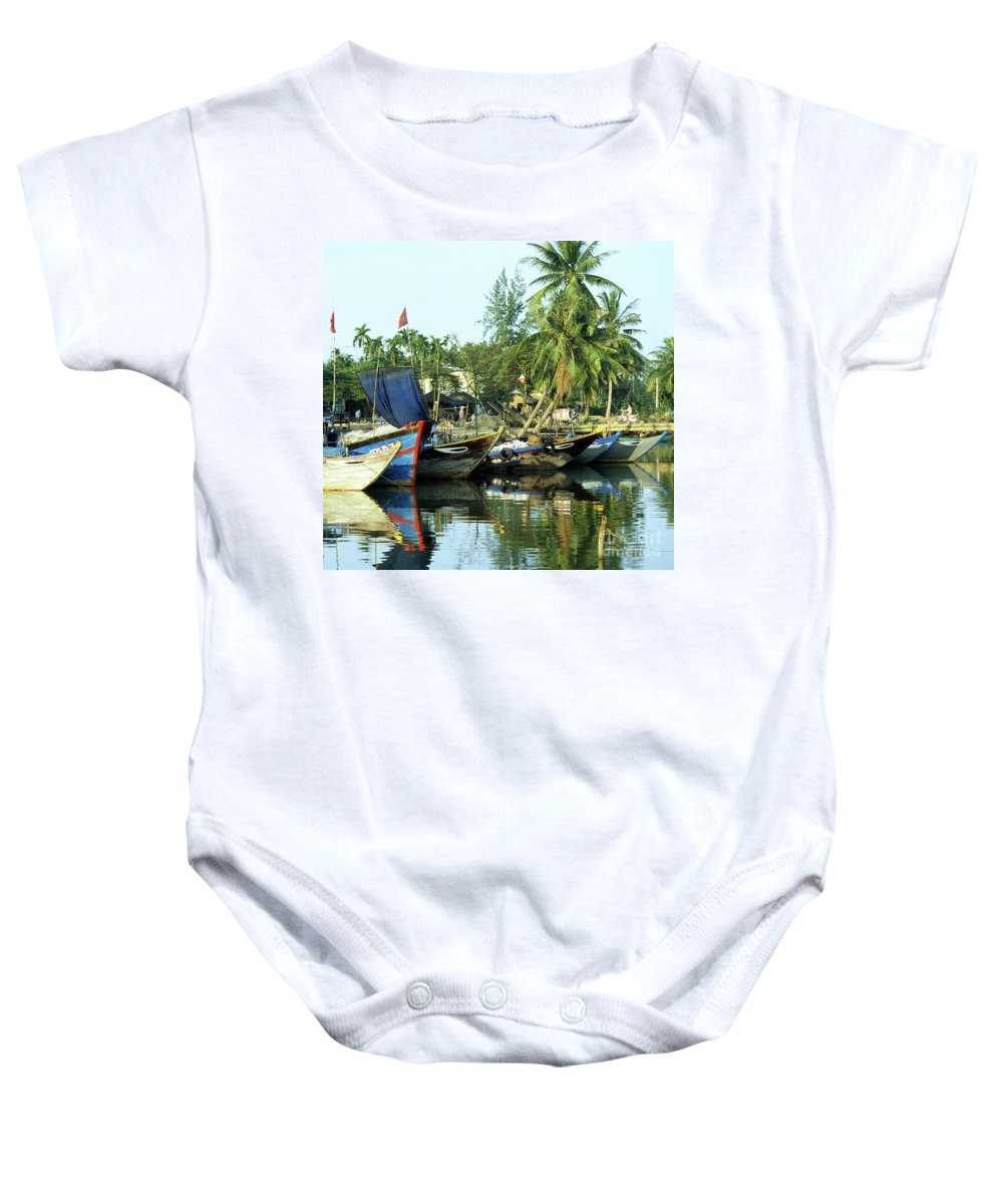 Vietnam Baby Onesie featuring the photograph Hoi An Fishing Boats 01 by Rick Piper Photography