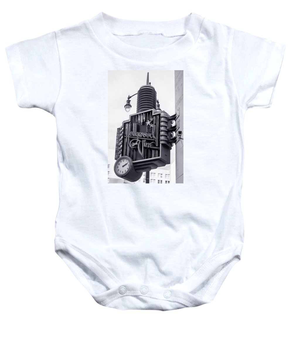 Hollywood And Vine Sign Baby Onesie featuring the photograph Hollywood Landmarks - Hollywood And Vine Sign by Art Block Collections