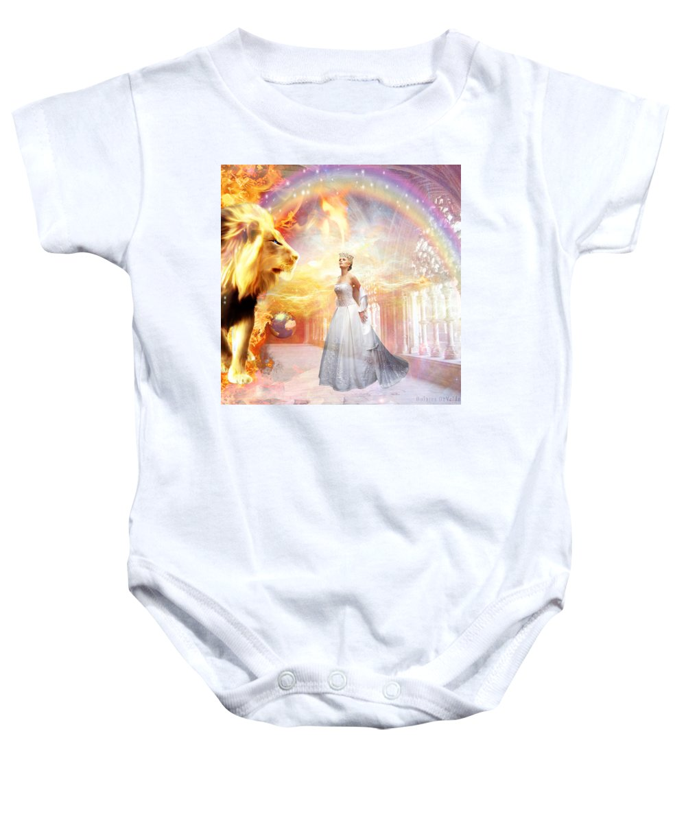 Lion Of Judah Hope Bride Of Christ Rainbow Stars Heaven Kings Court Room Earth World Baby Onesie featuring the digital art Hope Of Glory by Dolores Develde