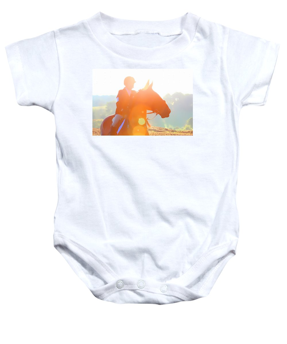 Horse Baby Onesie featuring the photograph Horse Show Flares by Alice Gipson