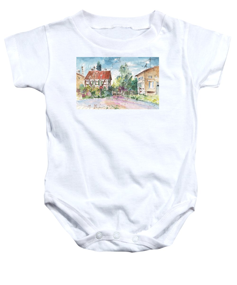 Travel Sketch Baby Onesie featuring the painting Houses In Soufflenheim by Miki De Goodaboom