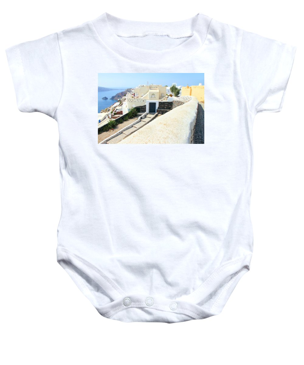 Oia Santorini Greece Baby Onesie featuring the photograph Houses Oia Santorini by Carole-Anne Fooks