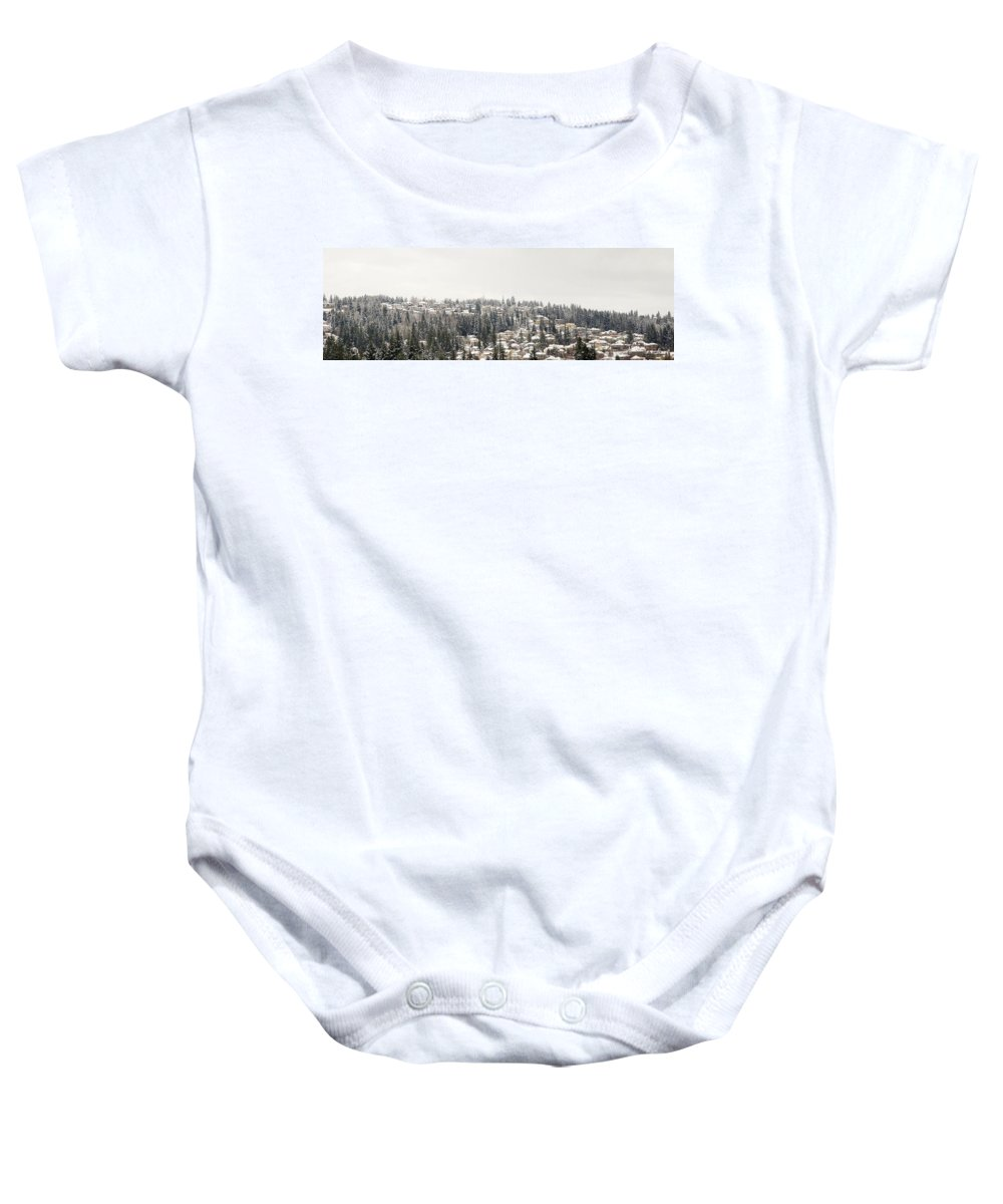 House Baby Onesie featuring the photograph Houses On The Mountain In Winter by Jit Lim