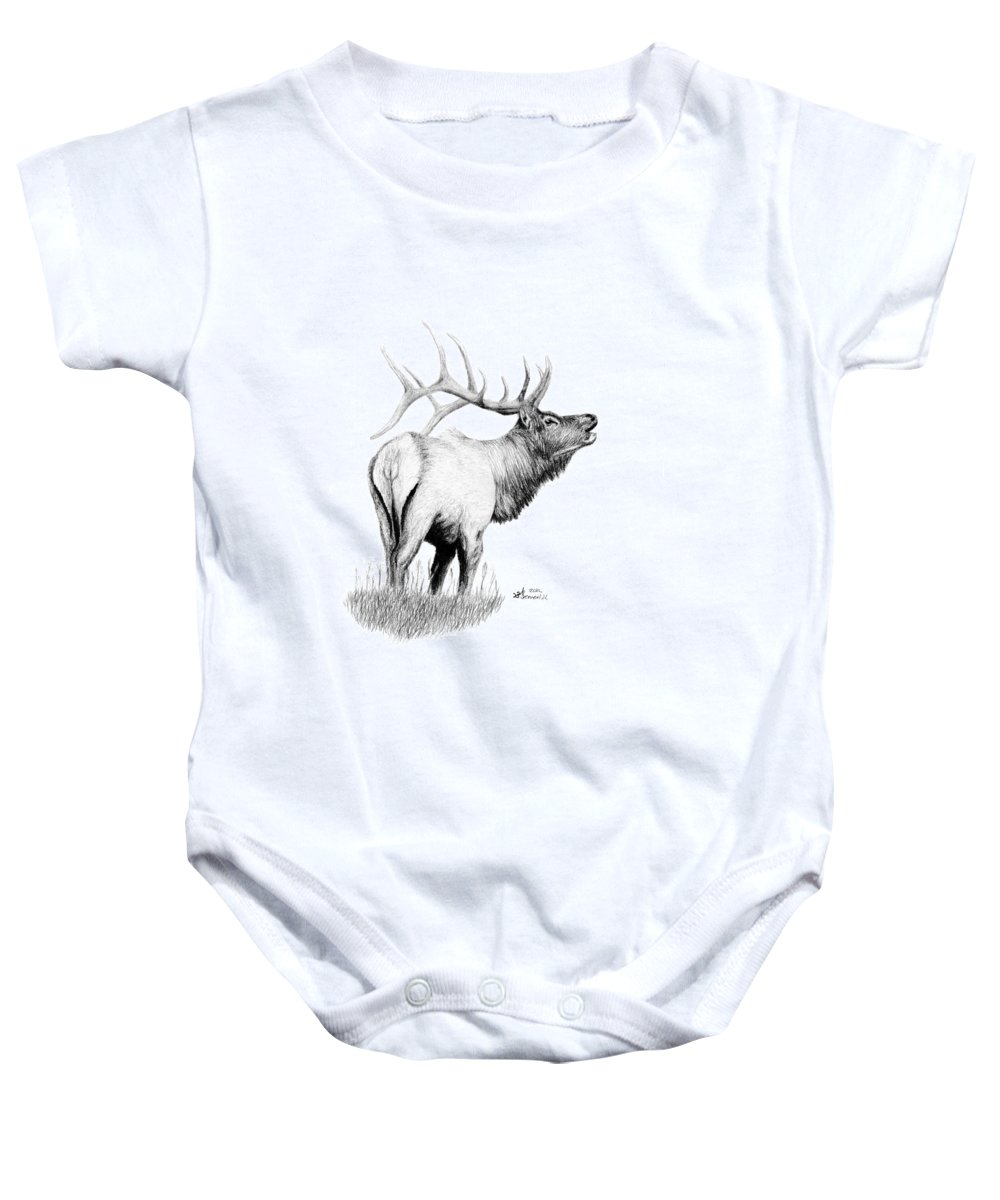 Elk Baby Onesie featuring the drawing Hunters Target by Kayleigh Semeniuk