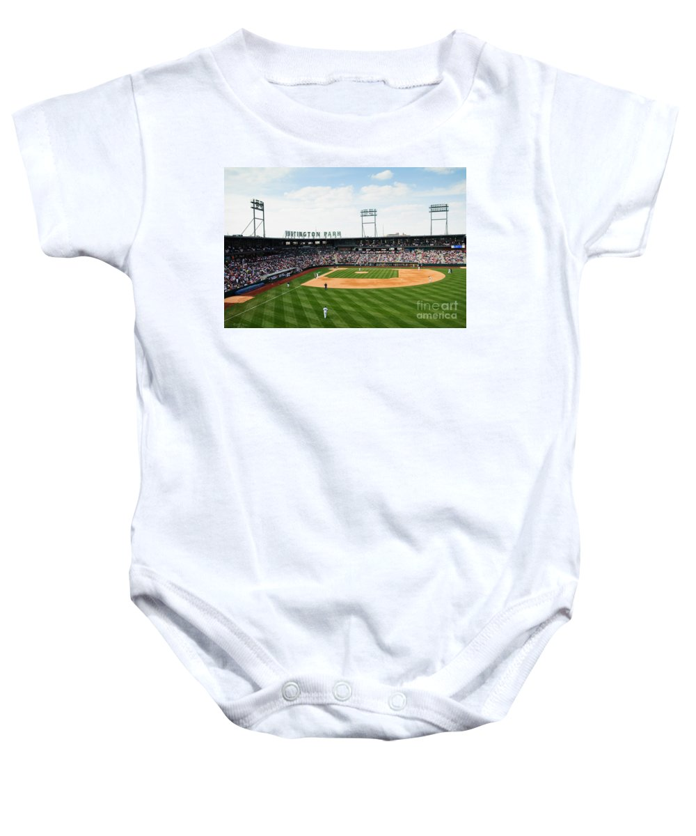 Columbus Clippers Baby Onesie featuring the photograph D24w-243 Huntington Park Photo by Ohio Stock Photography