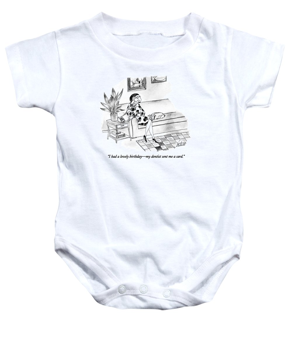 Medical Baby Onesie featuring the drawing I Had A Lovely Birthday - My Dentist Sent by Victoria Roberts