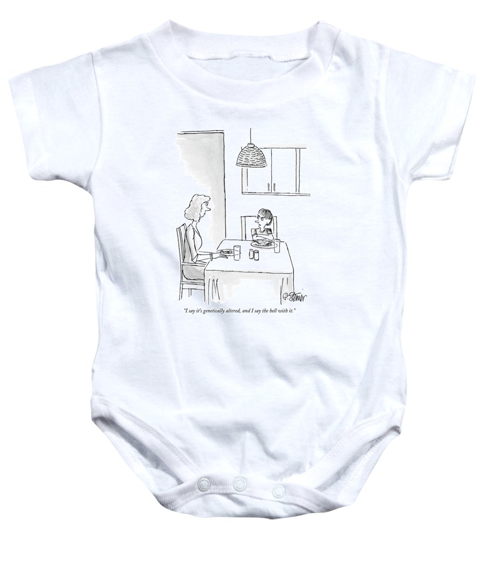 Dna Baby Onesie featuring the drawing I Say It's Genetically Altered by Peter Steiner