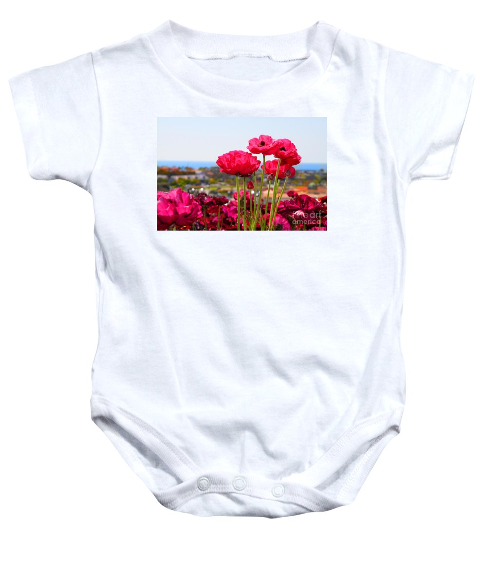 Ranunculus Baby Onesie featuring the photograph I Sea The Sea - Ranunculus Flowers By Diana Sainz by Diana Raquel Sainz