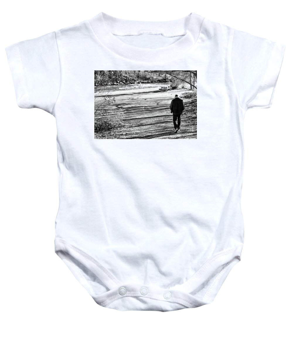 Person Baby Onesie featuring the photograph I Walk Alone by Lori Tambakis