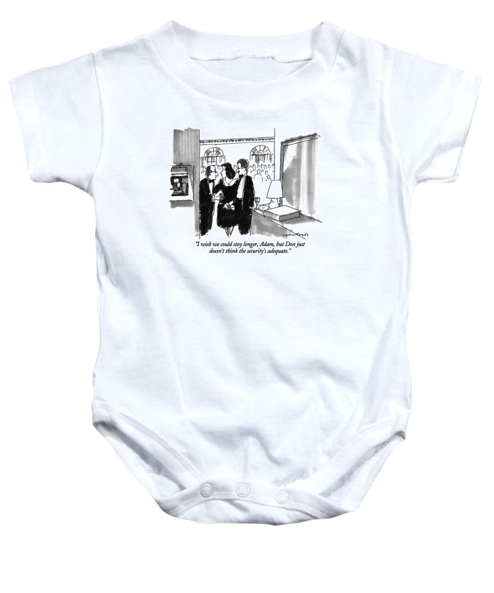 (couple Leaving Dinner Party) Couples Baby Onesie featuring the drawing I Wish We Could Stay Longer by Michael Crawford