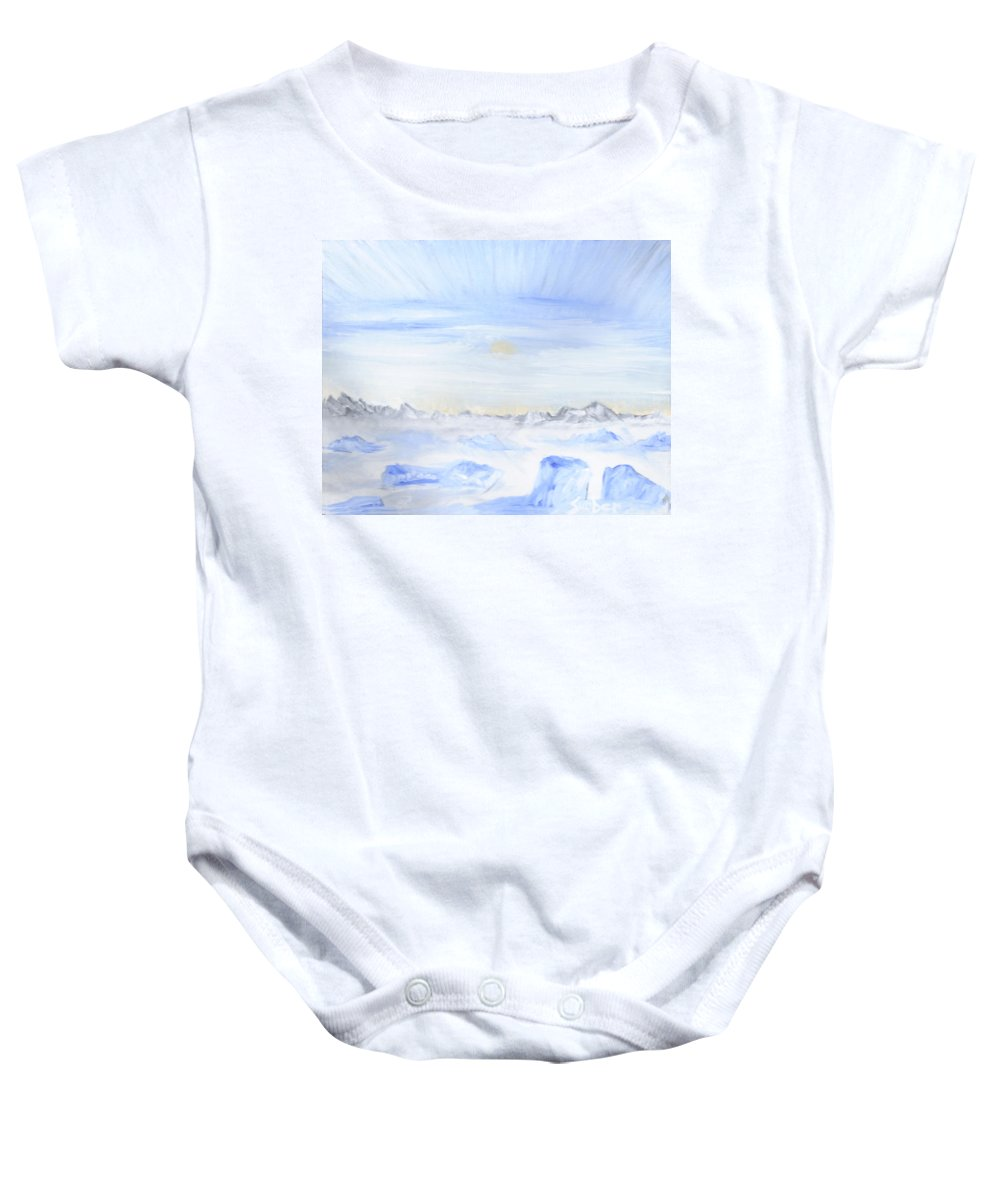 Ice Baby Onesie featuring the painting Ice Movement by Suzanne Surber