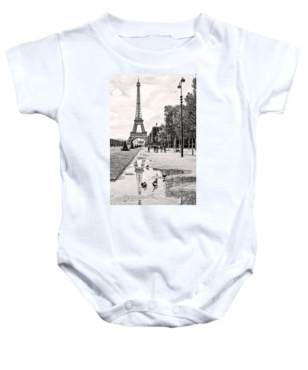 Paris Baby Onesie featuring the photograph Icon Reflected Bw by Lindley Johnson