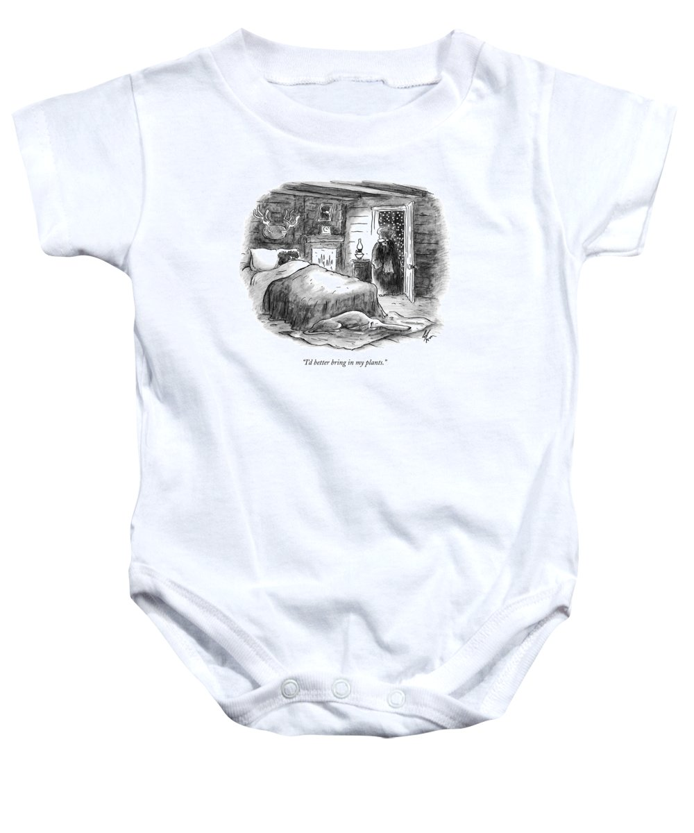 Plants Baby Onesie featuring the drawing I'd Better Bring In My Plants by Frank Cotham