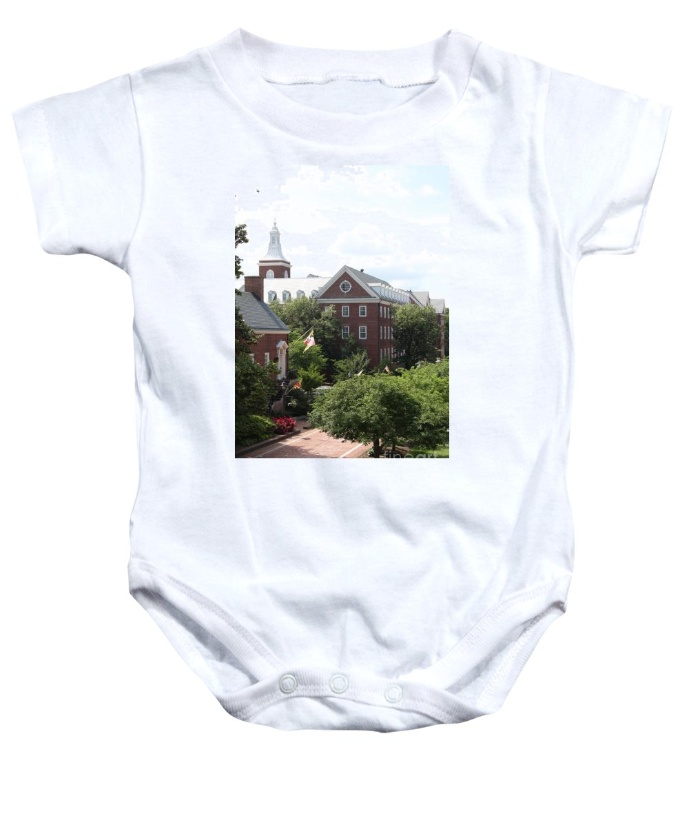 House Baby Onesie featuring the photograph Idyllic View From Maryland State House by Christiane Schulze Art And Photography