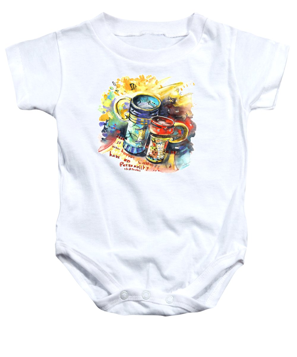 Cafe Crem Baby Onesie featuring the painting If It Were Not For Caffeine by Miki De Goodaboom