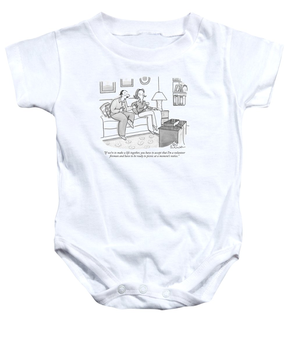 Word Play Relationships Workers Food   (man Talking To Woman While Watching Television.) 120172 Lcu Leo Cullum Baby Onesie featuring the drawing If We're To Make A Life Together by Leo Cullum