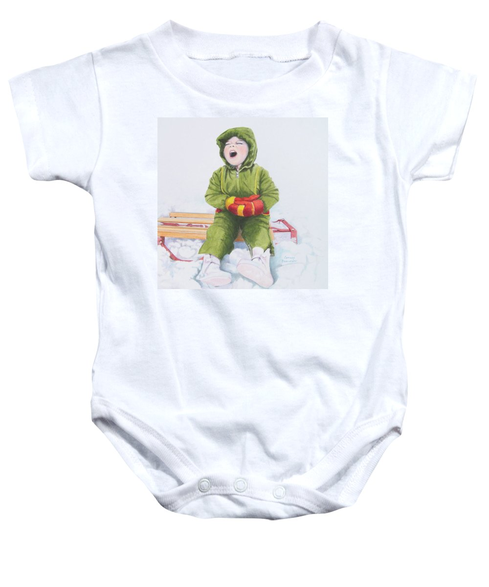 Green Baby Onesie featuring the mixed media I'm Cooold by Constance Drescher