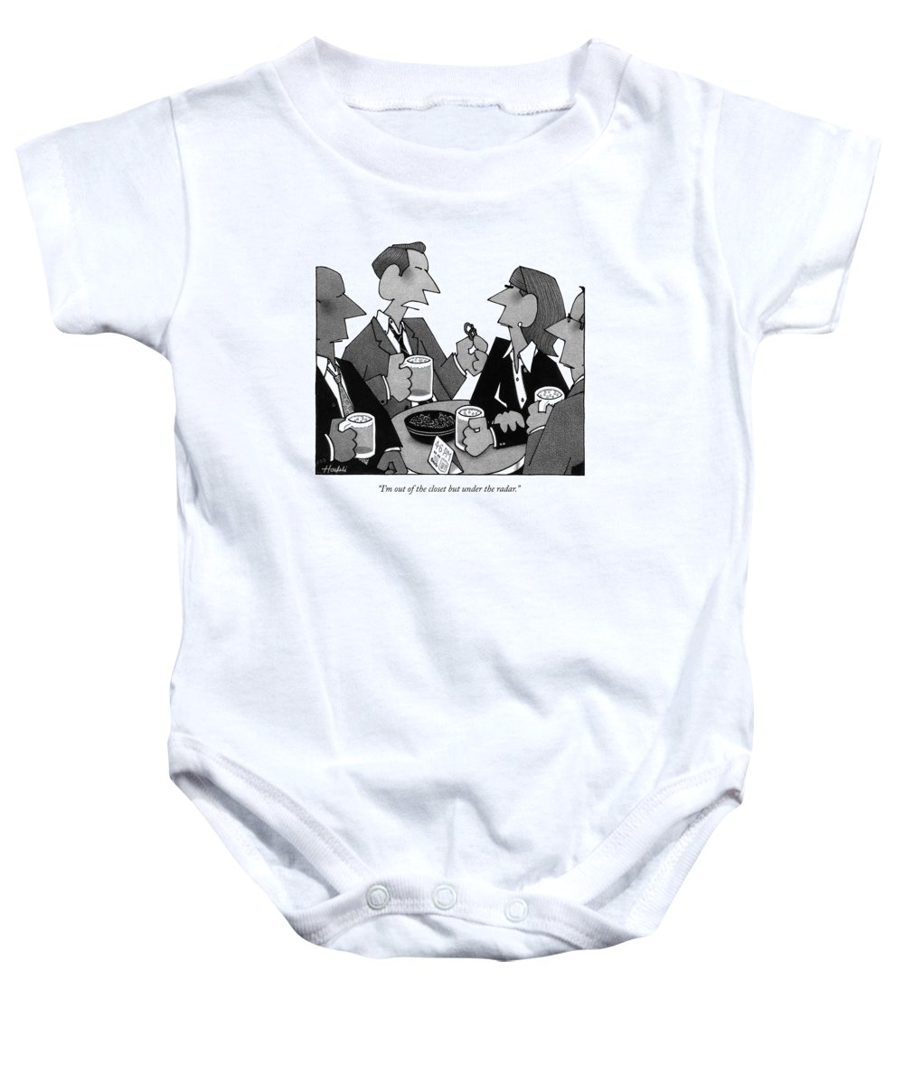 Homosexual People Baby Onesie featuring the drawing I'm Out Of The Closet But Under The Radar by William Haefeli