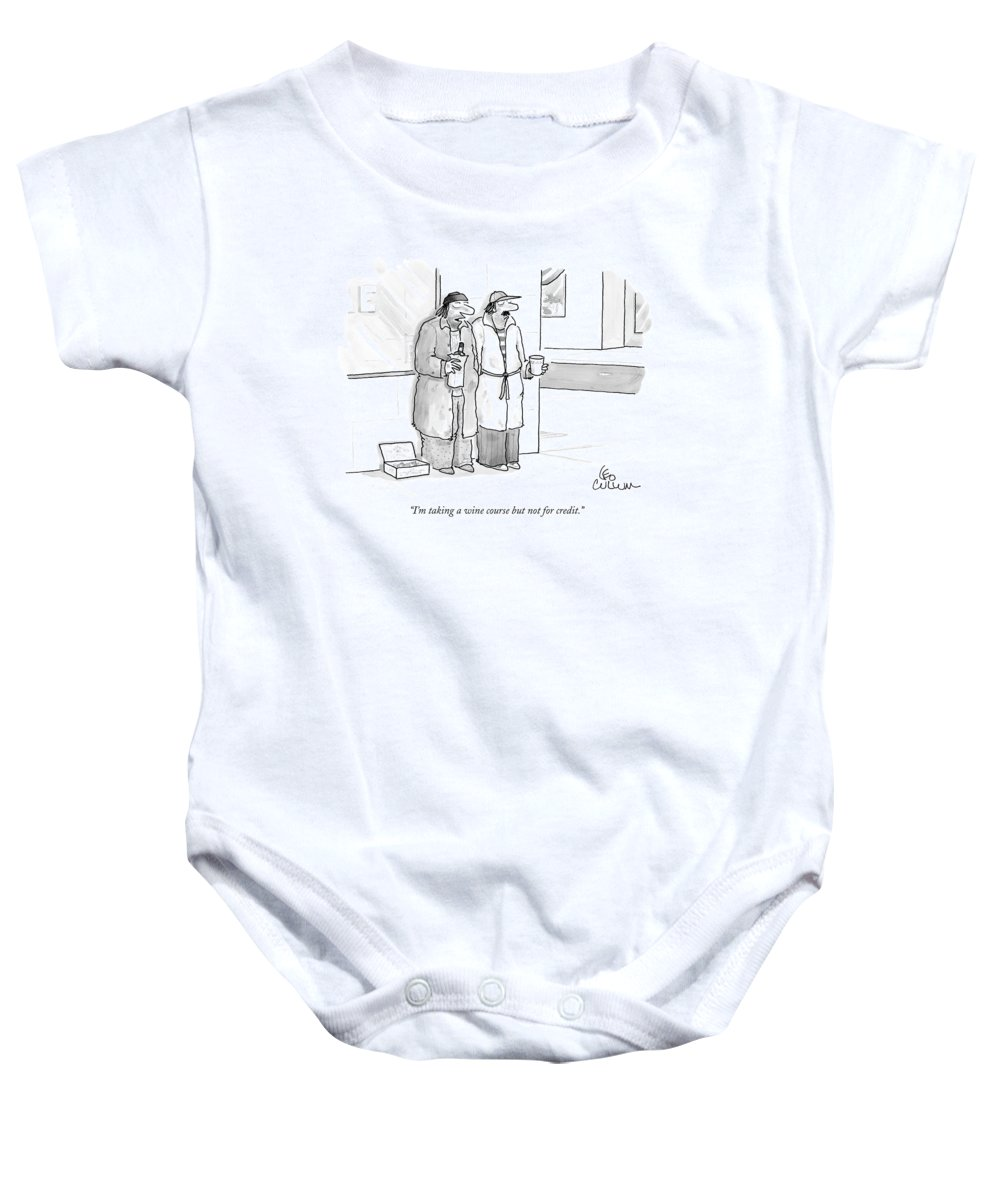 Wine Baby Onesie featuring the drawing I'm Taking A Wine Course But Not For Credit by Leo Cullum
