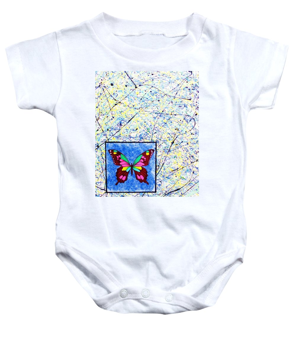 Abstract Baby Onesie featuring the painting Imperfect I by Micah Guenther