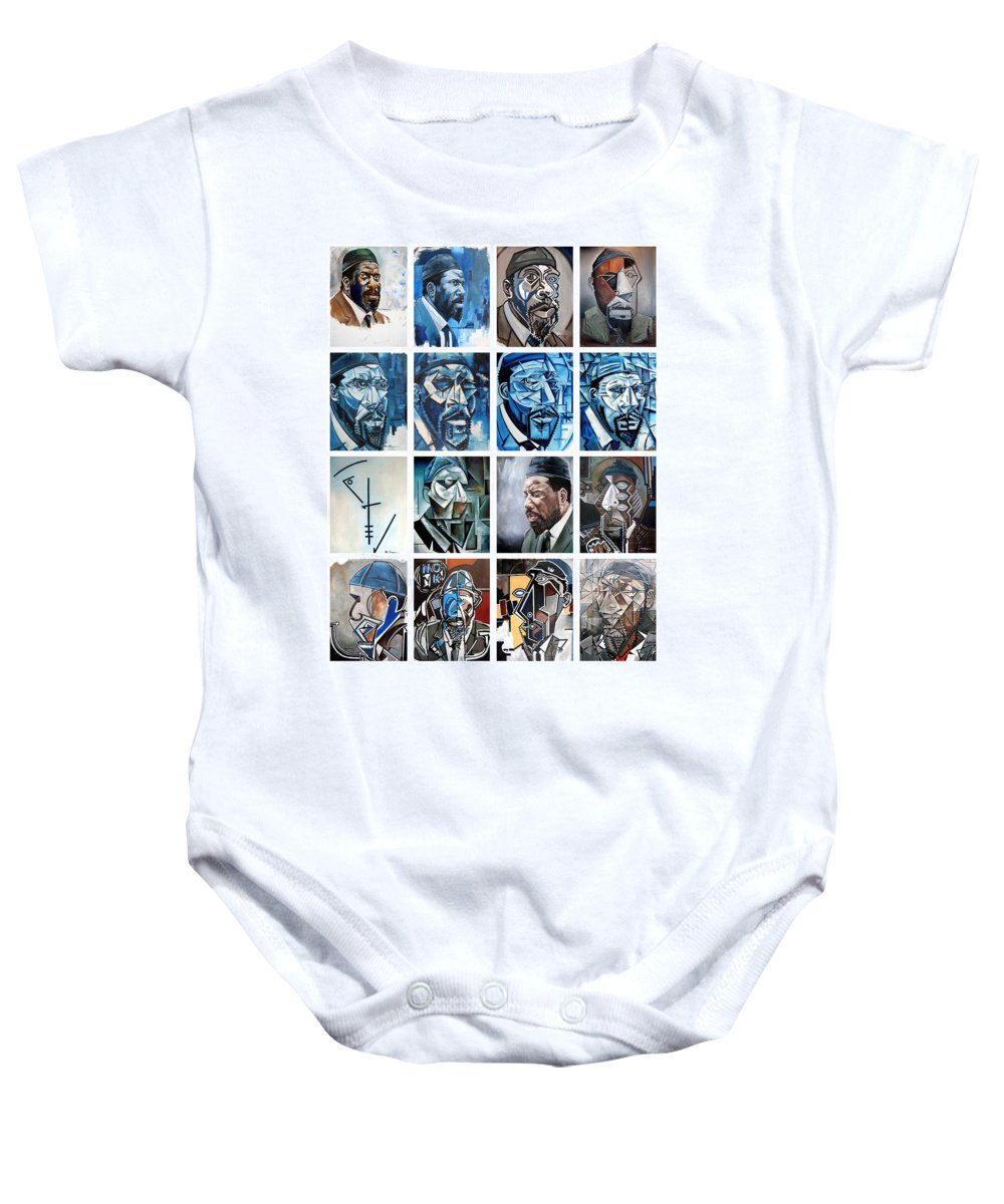 Jazz Piano Thelonious Monk Portrait Cubism Abstract Baby Onesie featuring the painting Improvised Metamorphoses by Martel Chapman