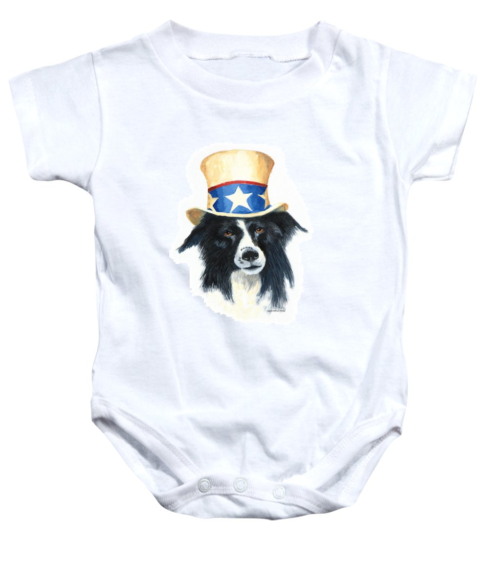 Dog Baby Onesie featuring the painting In Dog We Trust by Jerry McElroy