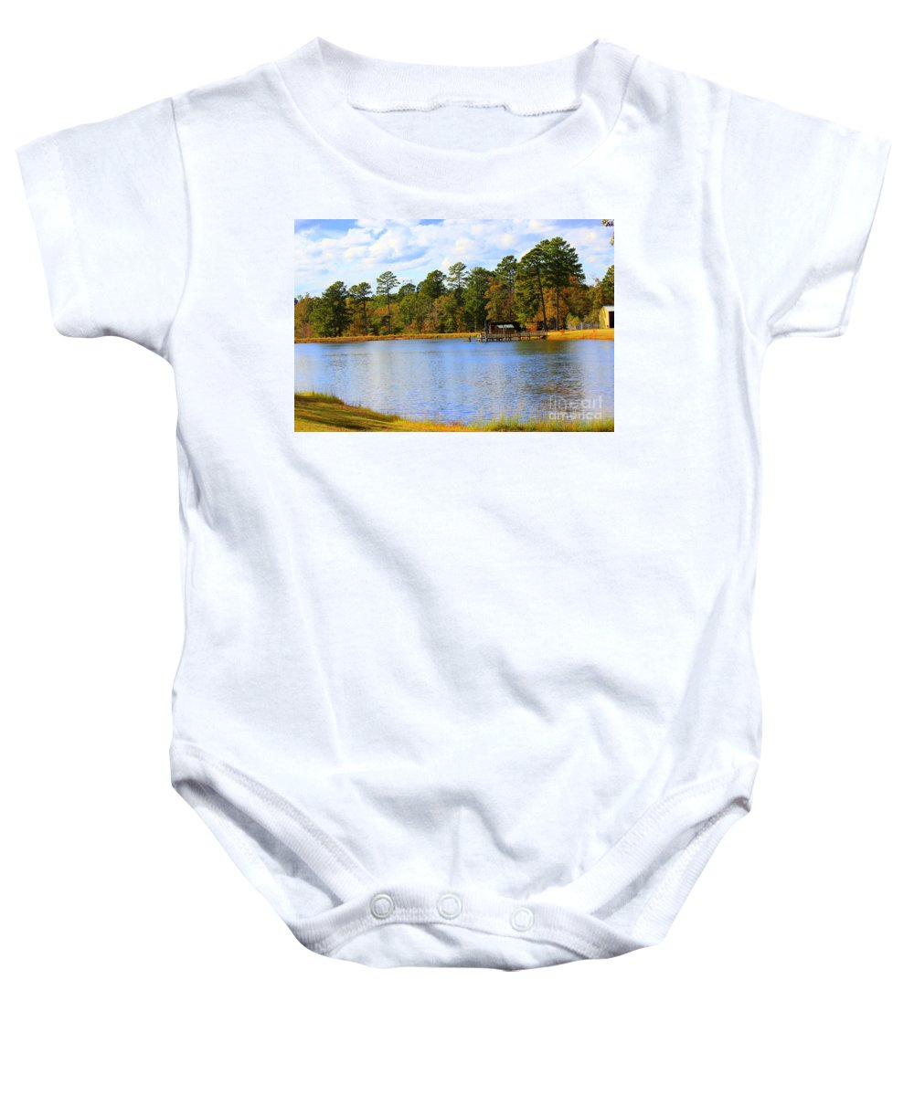 Autumn Days Baby Onesie featuring the photograph In The Autumn Season by Kathy White