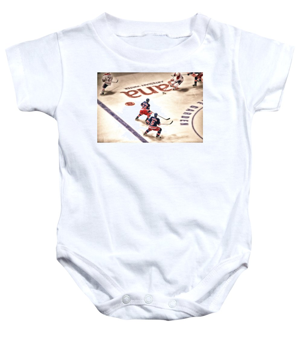 Hockey Baby Onesie featuring the photograph In The Game by Karol Livote