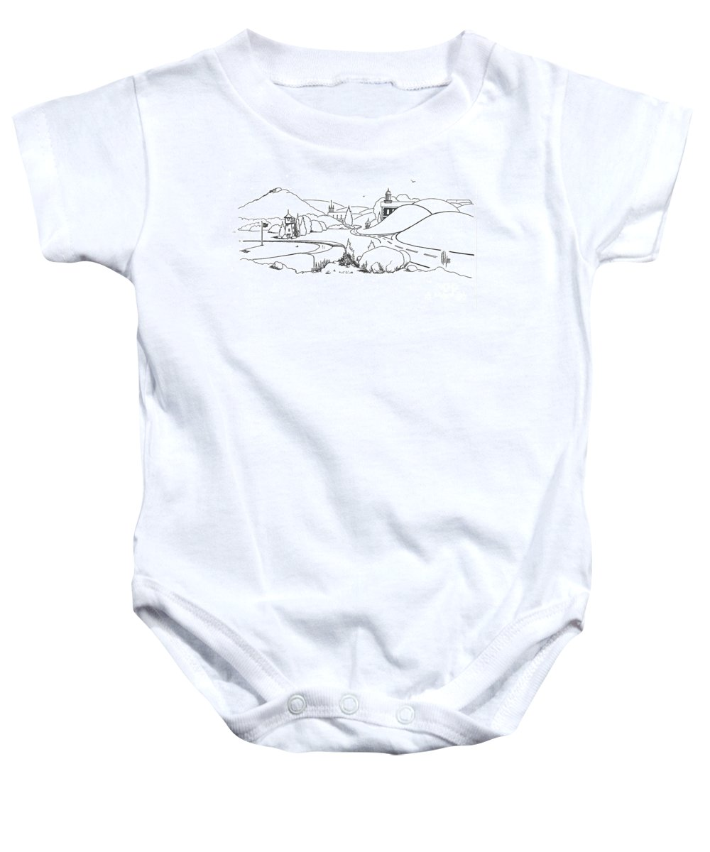 In The Land Of Brigadoon Baby Onesie featuring the drawing In The Land Of Brigadoon by Kip DeVore