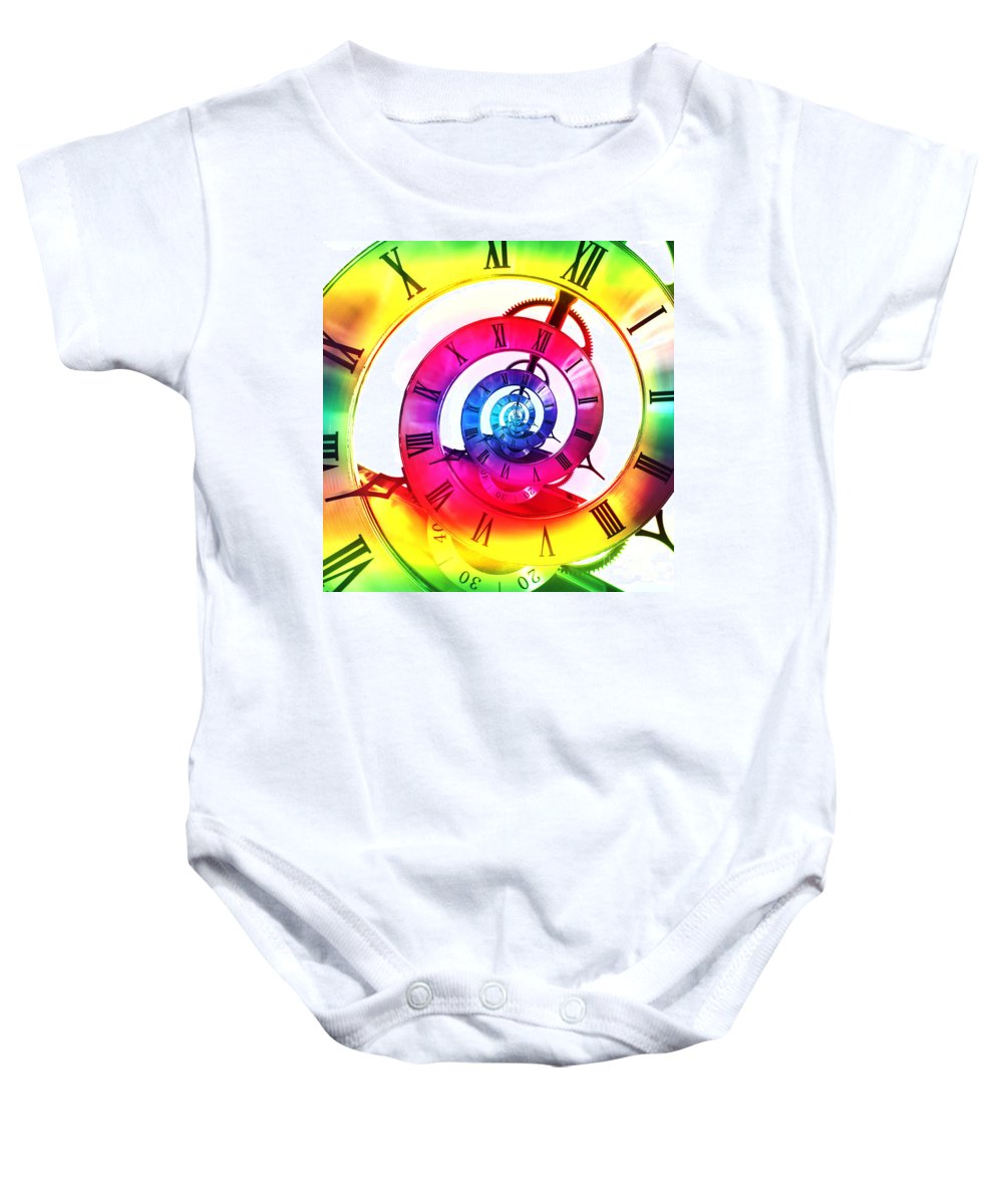 Clock Face Baby Onesie featuring the photograph Infinite Time Rainbow 3 by Steve Purnell