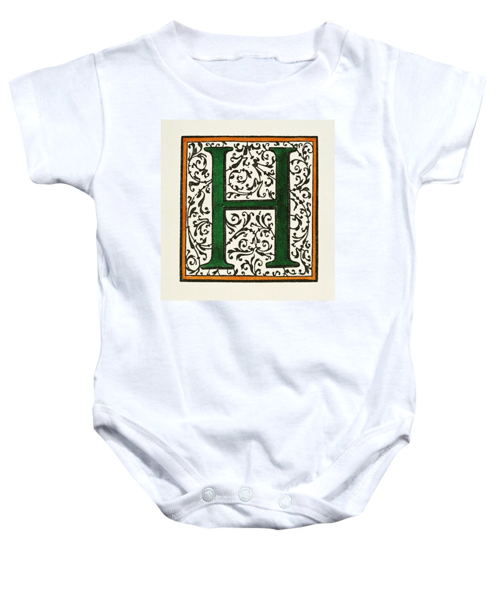 1600 Baby Onesie featuring the painting Initial 'h', C1600 by Granger