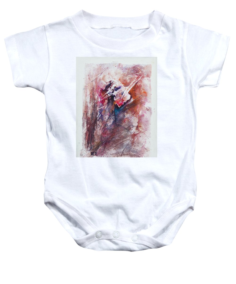 Abstract Baby Onesie featuring the painting Inner Conflict by Rachel Christine Nowicki