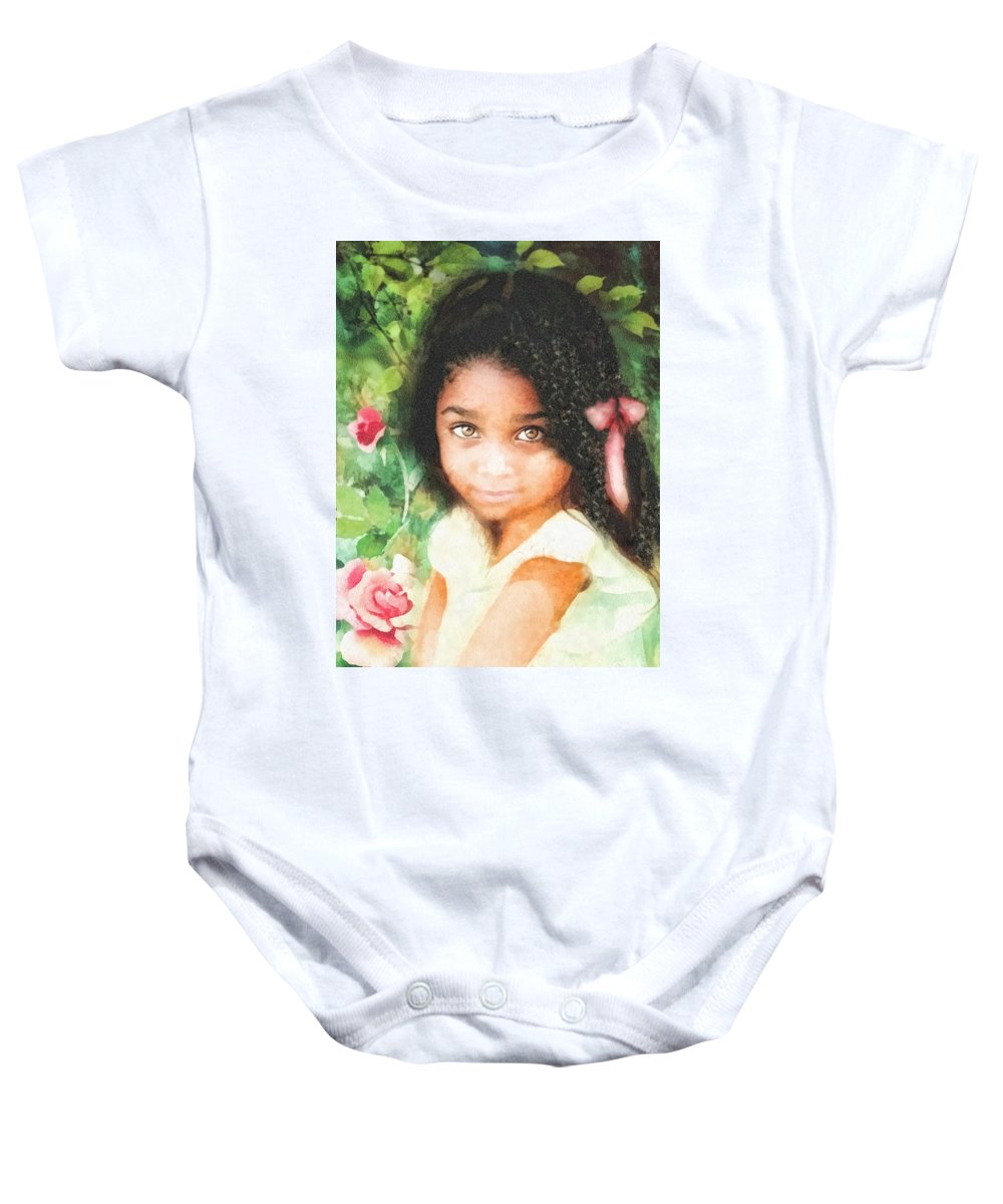 Innocence Baby Onesie featuring the painting Innocence by Mo T