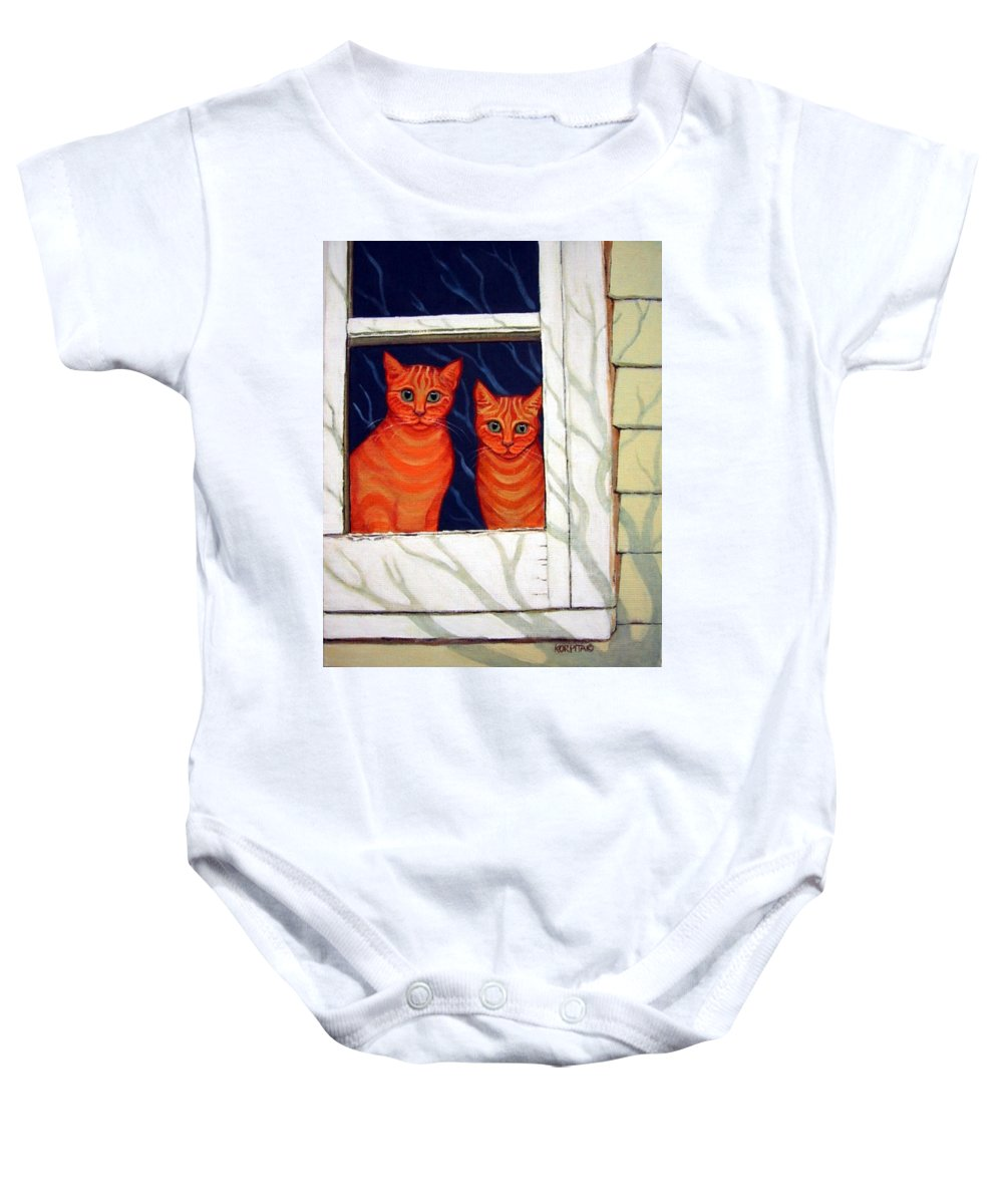 Rebecca Korpita Baby Onesie featuring the painting Orange Cats Looking Out Window by Rebecca Korpita