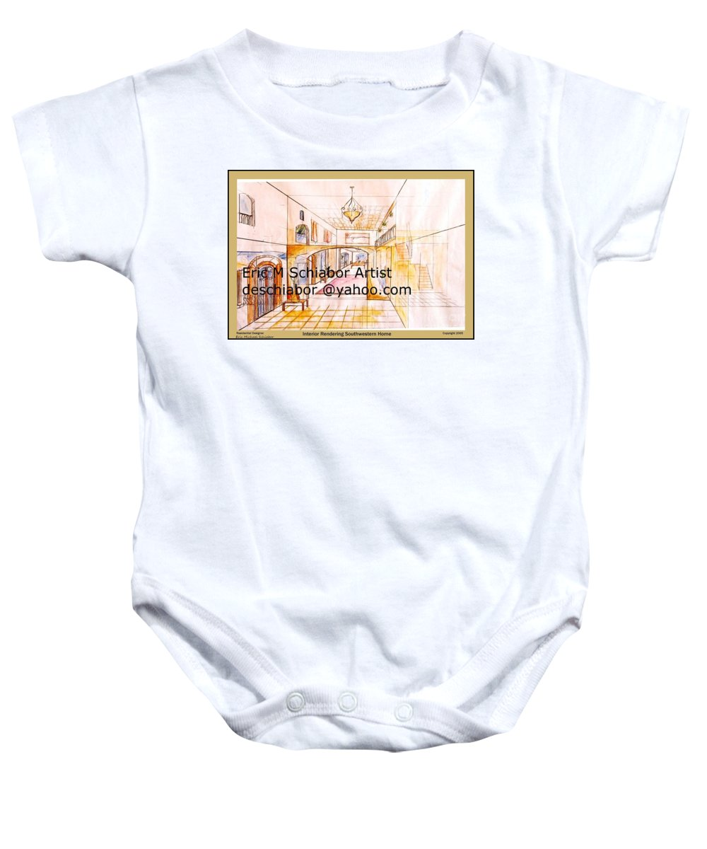 Interior Baby Onesie featuring the painting Interior Perspective by Eric Schiabor