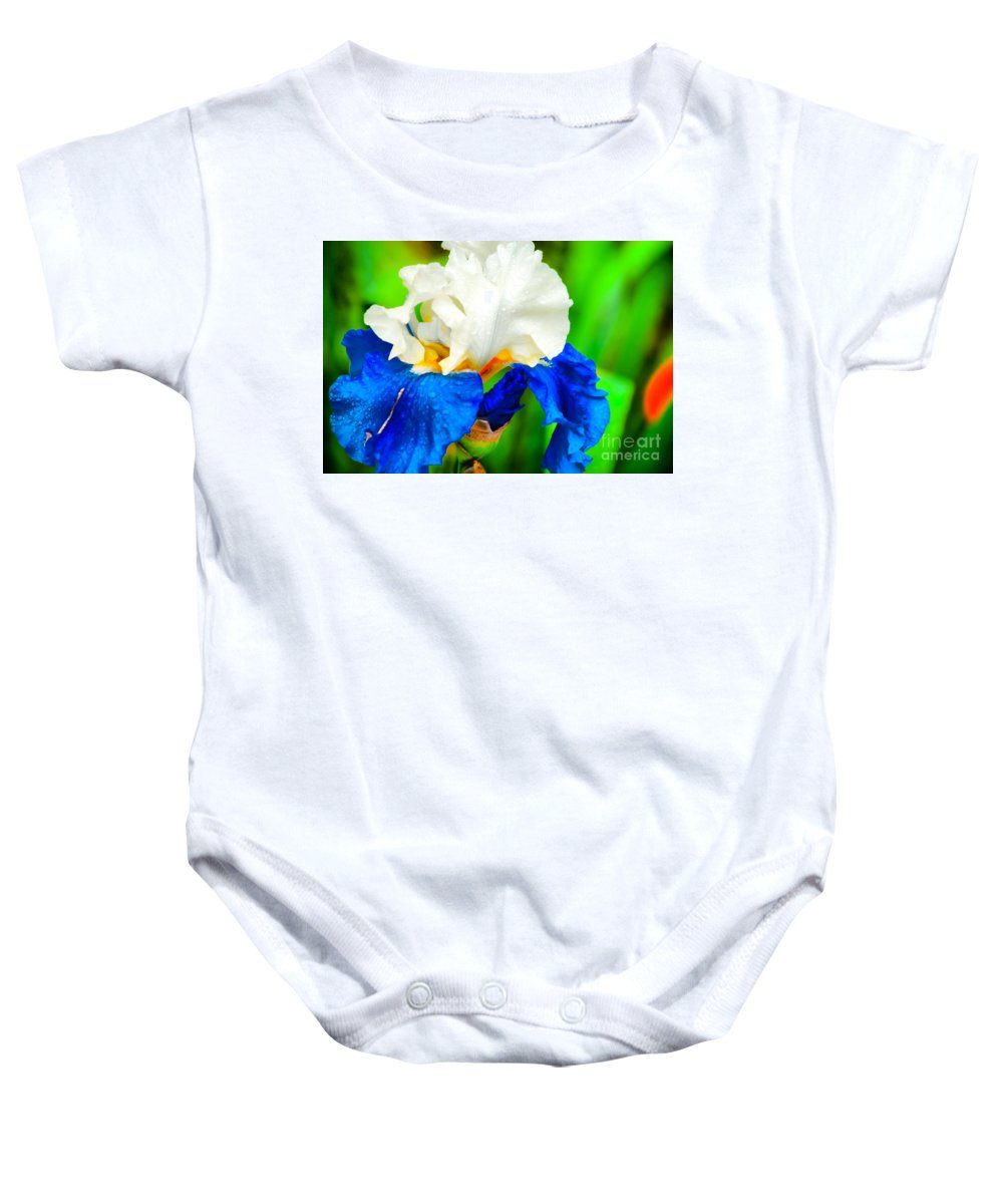 Macro Baby Onesie featuring the photograph Iris My Eye On You by Peggy Franz