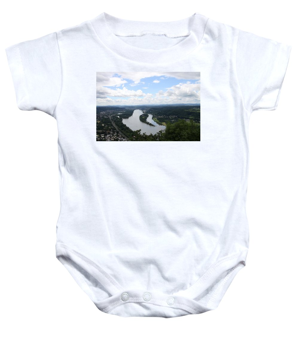 Cloister Baby Onesie featuring the photograph Island Nonnenwerth With Cloister by Christiane Schulze Art And Photography