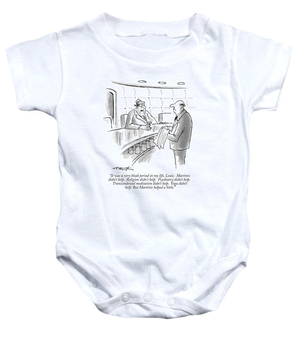 (man Sitting At A Bar Speaks To Bartender.) Bars Baby Onesie featuring the drawing It Was A Very Bleak Period In My Life by Henry Martin