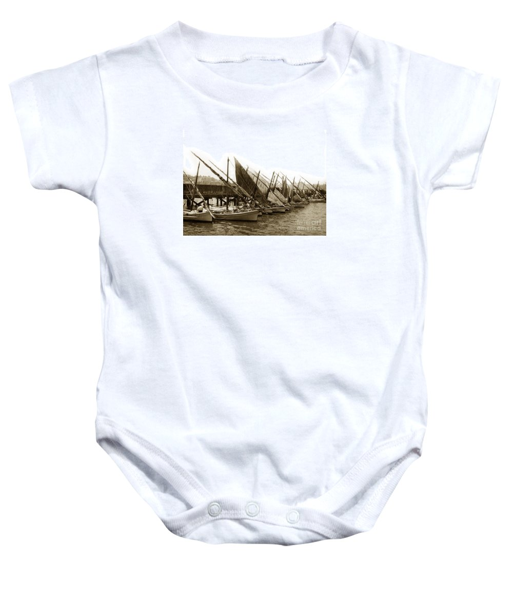Italian Baby Onesie featuring the photograph Italian Fishing Boats Fishermen's Wharf San Francisco Circa 1903 by California Views Archives Mr Pat Hathaway Archives
