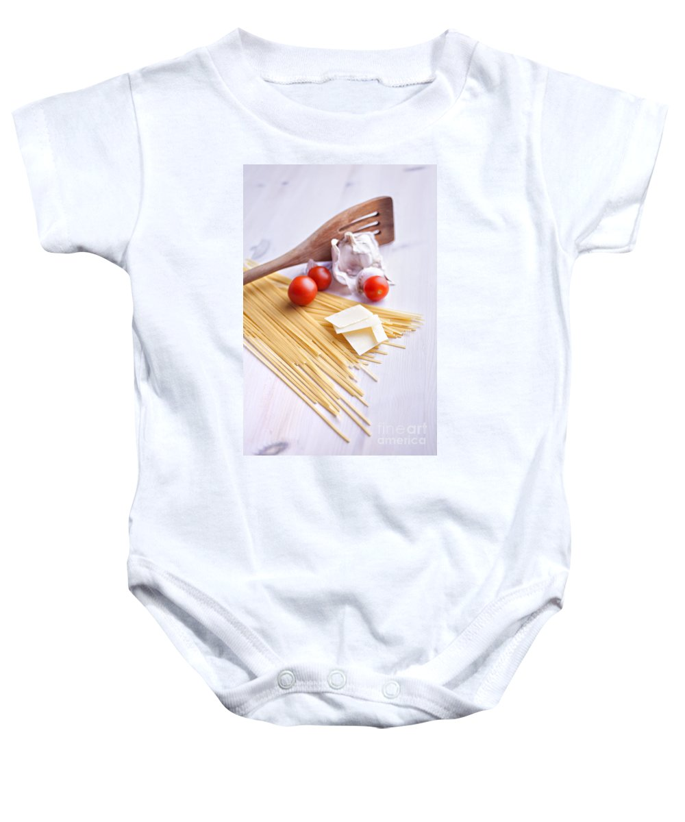 Ladle Baby Onesie featuring the photograph Italian Pasta Meal by Sophie McAulay