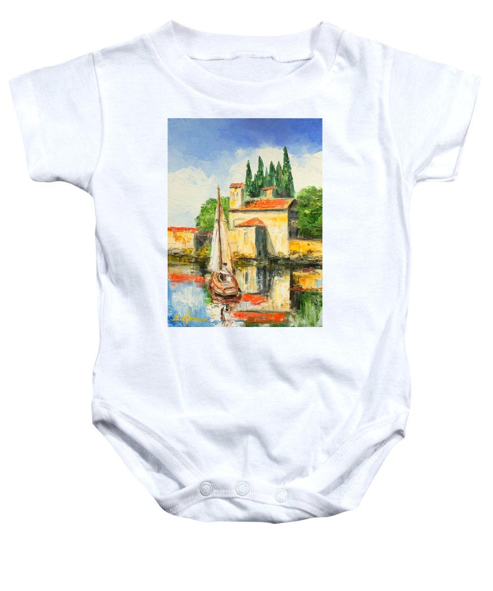 San Vigilio Baby Onesie featuring the painting Italy - San Vigilio by Luke Karcz