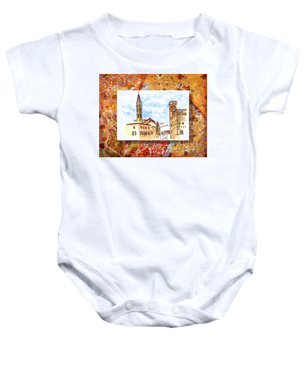 Italy Baby Onesie featuring the painting Italy Sketches Florence Towers by Irina Sztukowski
