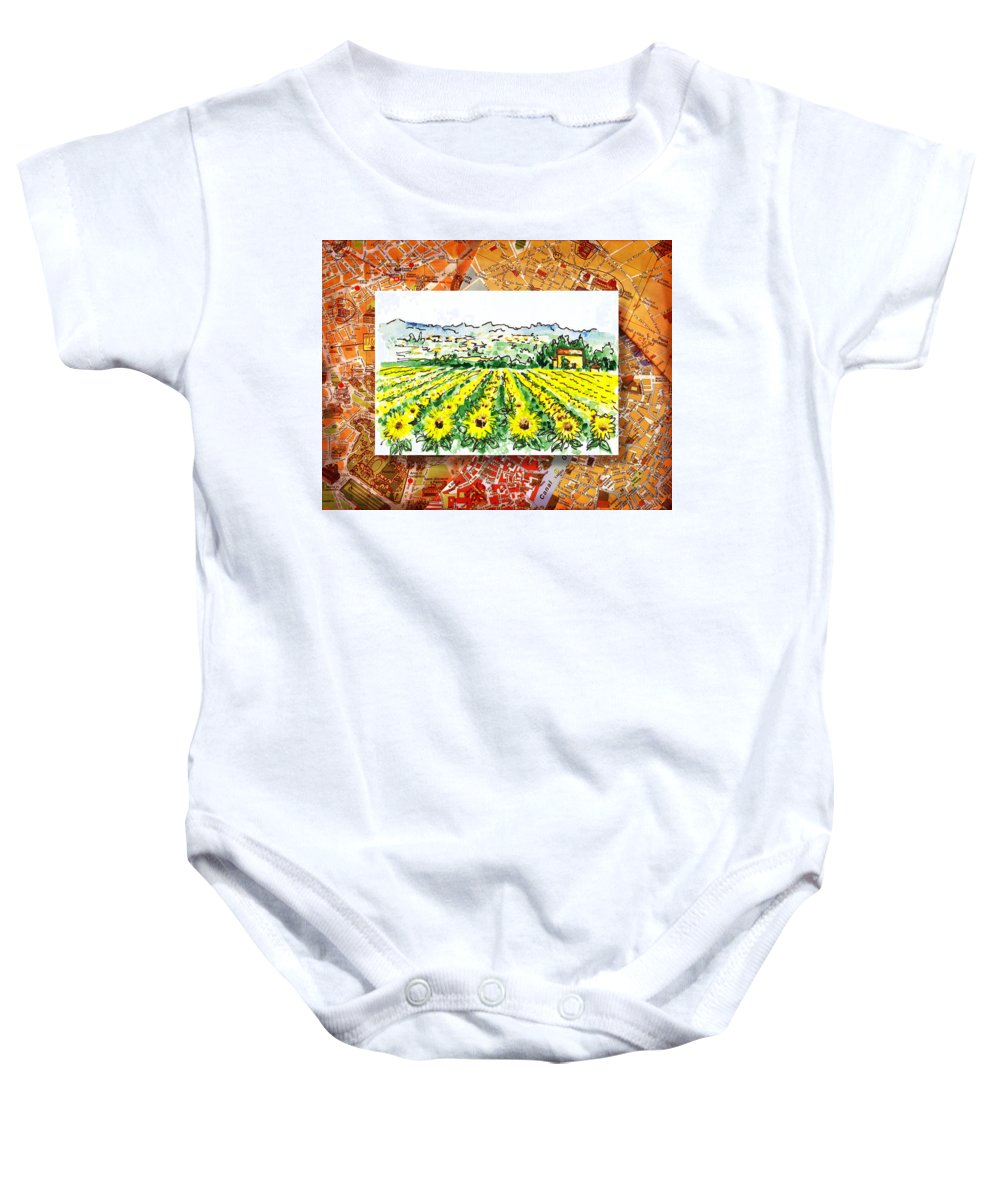 Italy Baby Onesie featuring the painting Italy Sketches Sunflowers Of Tuscany by Irina Sztukowski