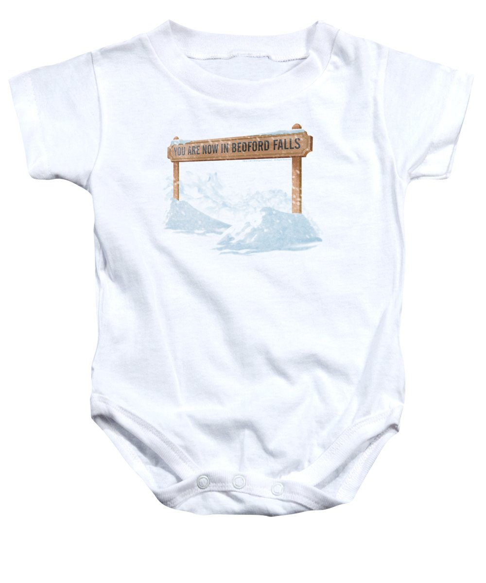 It's A Wonderful Life Baby Onesie featuring the digital art Its A Wonderful Life - Bedford Falls by Brand A
