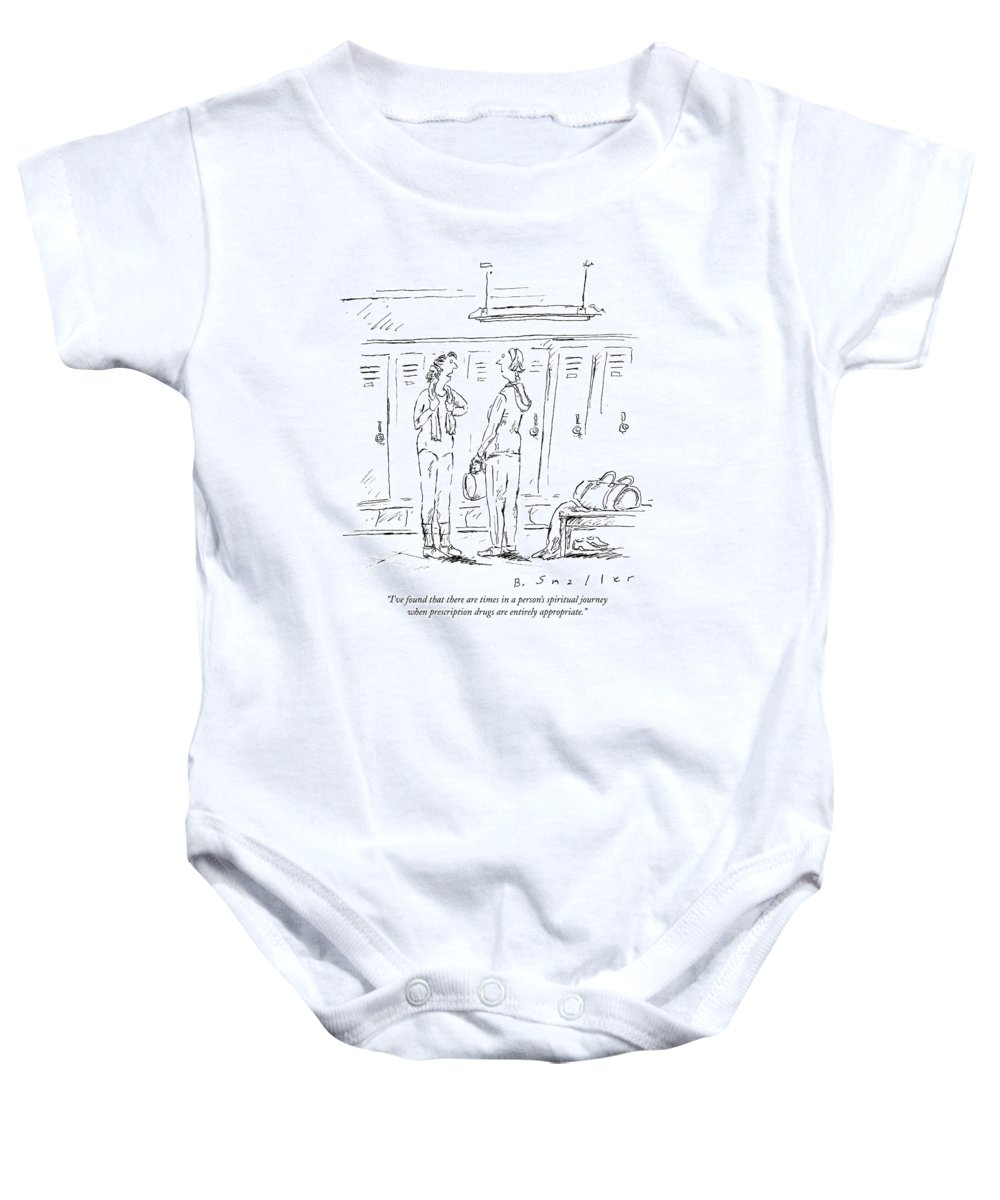 Spiritual Journey Baby Onesie featuring the drawing I've Found That There Are Times In A Person's by Barbara Smaller