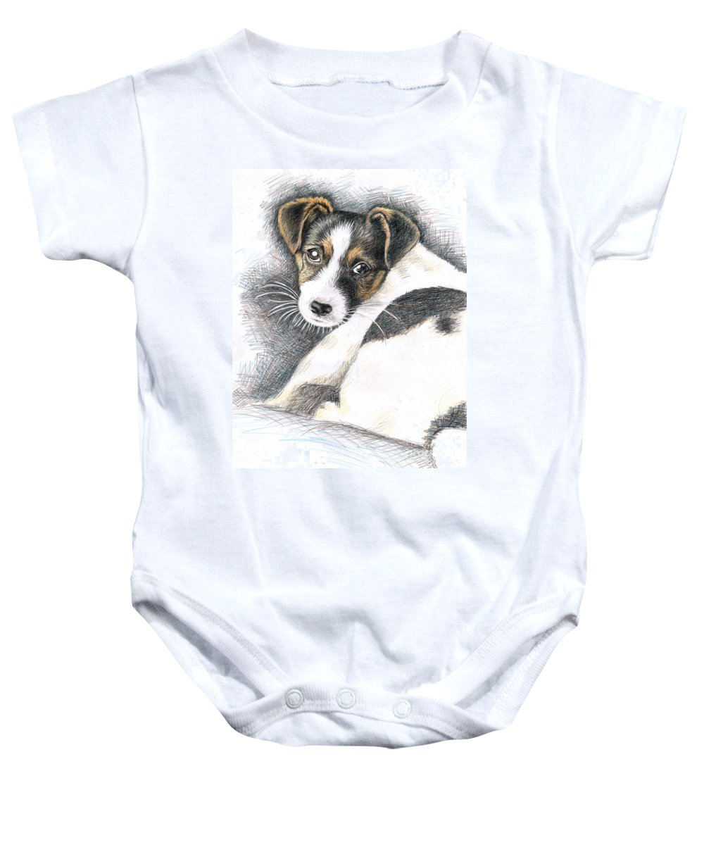 Dog Baby Onesie featuring the drawing Jack Russell Puppy by Nicole Zeug