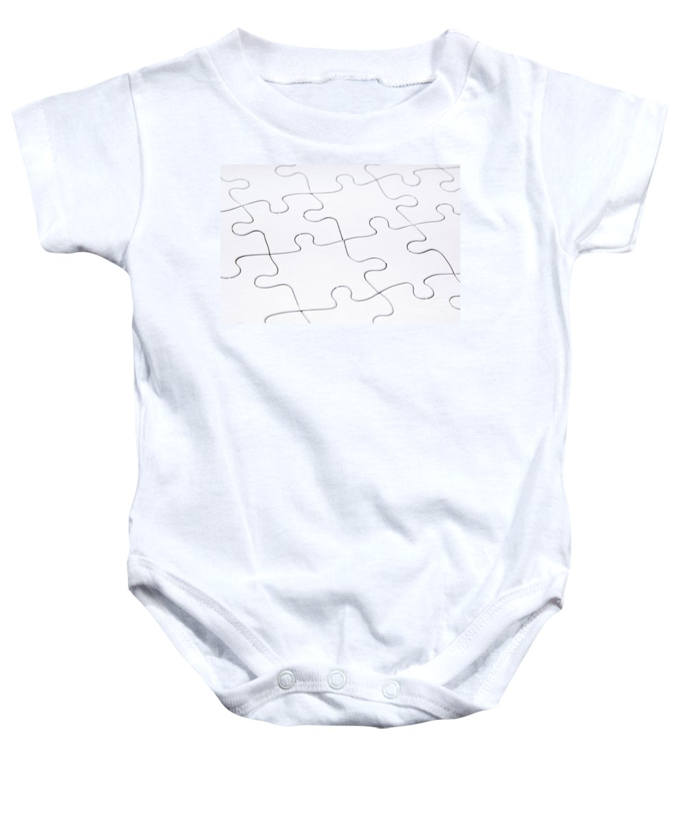 Abstract Baby Onesie featuring the photograph Jigsaw Puzzle Blank by Tim Hester